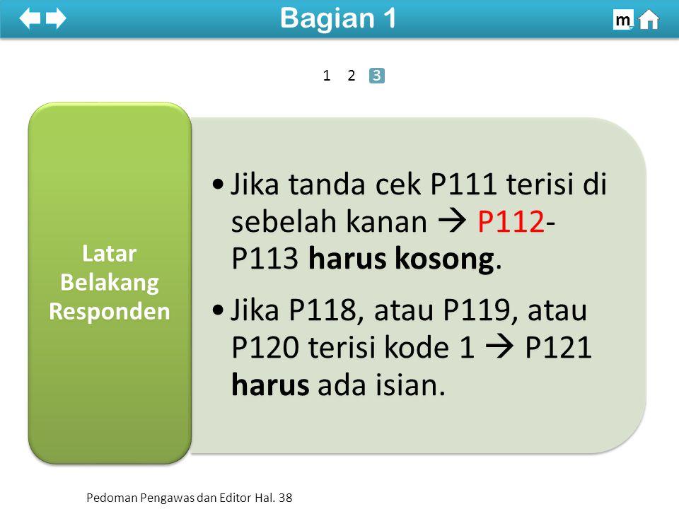 Jika tanda cek P111 terisi di sebelah kanan  P112- P113 harus kosong.
