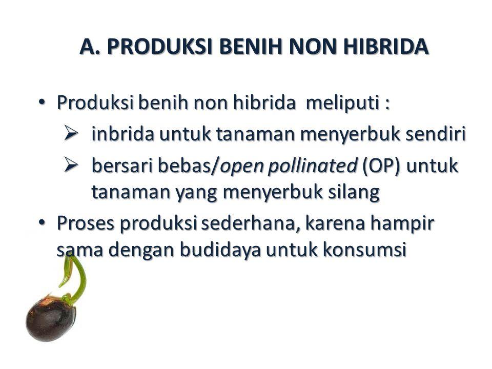 A. PRODUKSI BENIH NON HIBRIDA Produksi benih non hibrida meliputi : Produksi benih non hibrida meliputi :  inbrida untuk tanaman menyerbuk sendiri 