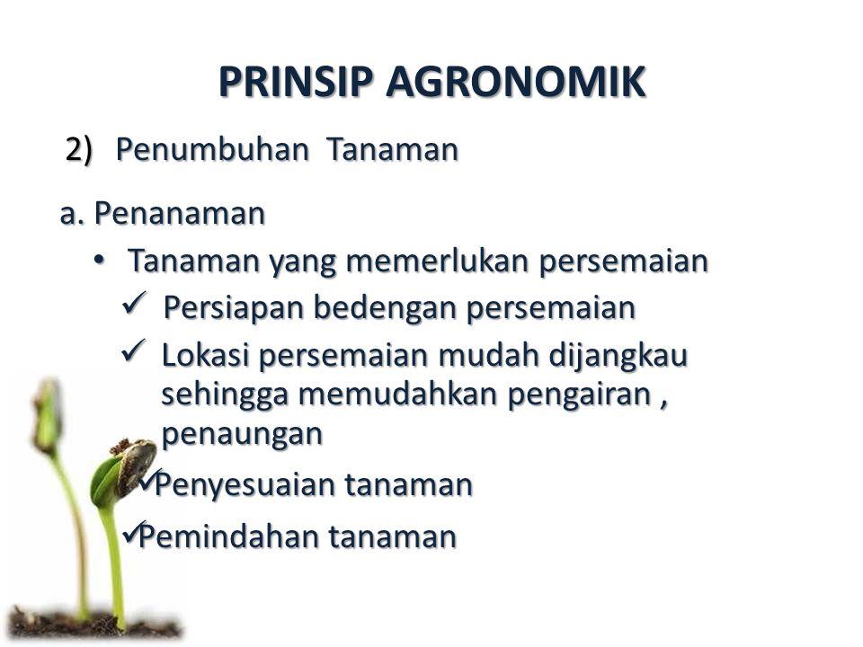 PRINSIP AGRONOMIK 2)Penumbuhan Tanaman a. Penanaman Tanaman yang memerlukan persemaian Tanaman yang memerlukan persemaian Persiapan bedengan persemaia