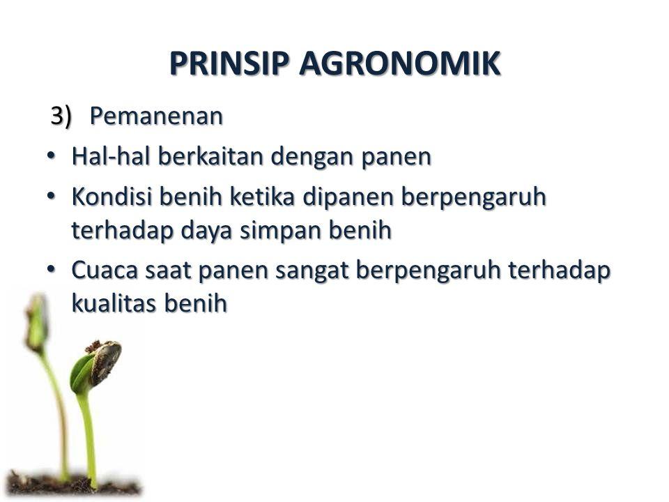 PRINSIP AGRONOMIK 3)Pemanenan Hal-hal berkaitan dengan panen Hal-hal berkaitan dengan panen Kondisi benih ketika dipanen berpengaruh terhadap daya simpan benih Kondisi benih ketika dipanen berpengaruh terhadap daya simpan benih Cuaca saat panen sangat berpengaruh terhadap kualitas benih Cuaca saat panen sangat berpengaruh terhadap kualitas benih