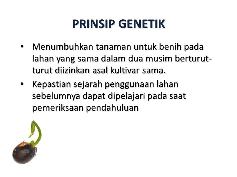 PRINSIP GENETIK Menumbuhkan tanaman untuk benih pada lahan yang sama dalam dua musim berturut- turut diizinkan asal kultivar sama.