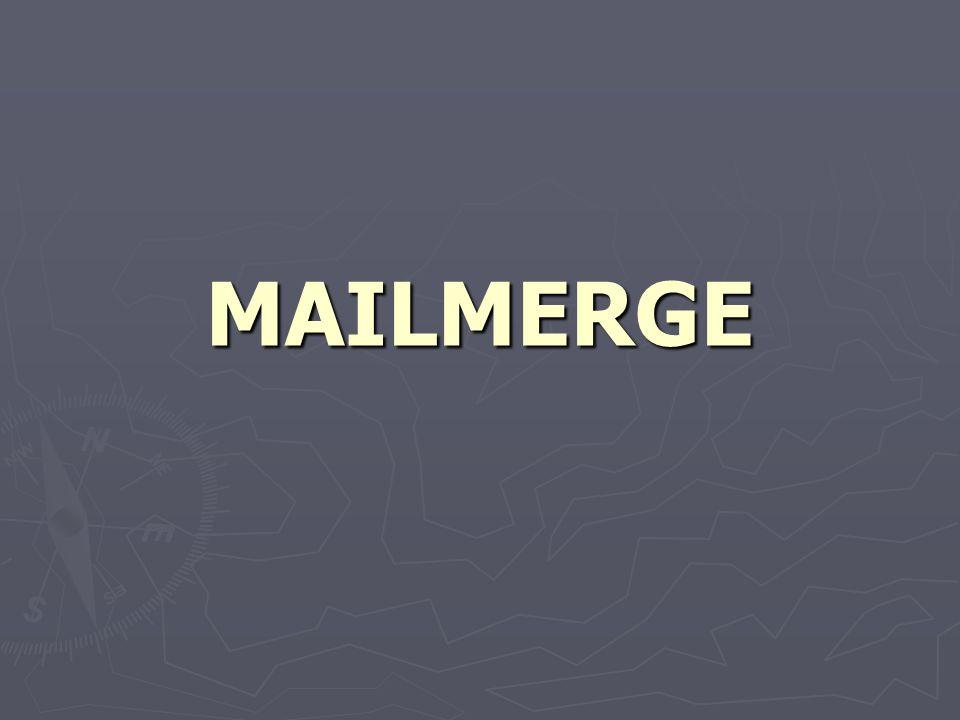 MELENGKAPI DOKUMEN UTAMA ► Setelah membuat surat utama (main document) dan sumber data (data source), langkah berikutnya adalah melengkapi surat (dokumen) utama dengan mengatur penyisipan field-field pada surat (dokumen) utama.