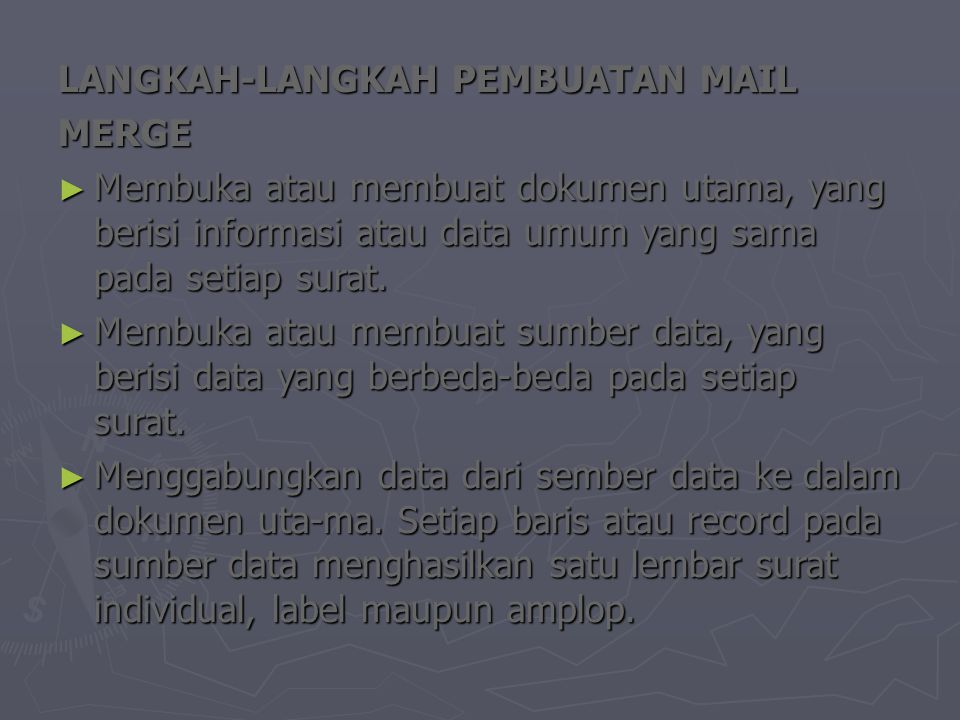 MEMBUAT DOKUMEN UTAMA ► Buka surat (dokumen) yang sudah ada atau bila belum ada buat-lah surat (dokumen) baru.