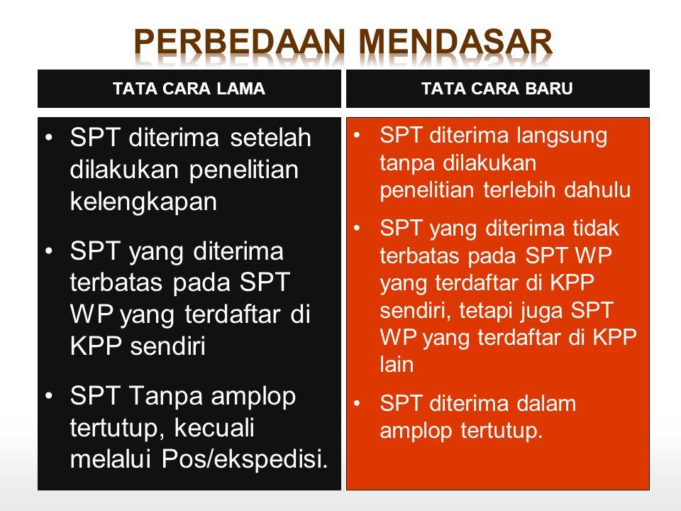 SPT diterima setelah dilakukan penelitian kelengkapan SPT yang diterima terbatas pada SPT WP yang terdaftar di KPP sendiri SPT Tanpa amplop tertutup,