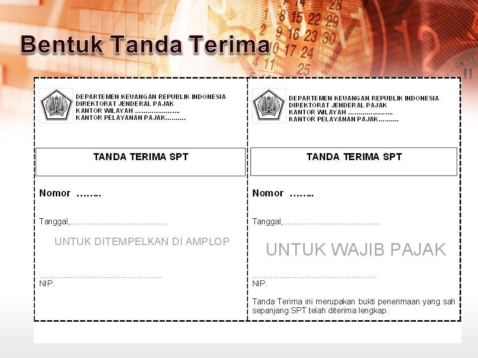 KPP menerima SPT Tahunan WP melalui TPT/Mobil Pajak/Pojok Pajak/Drop Box; Petugas Penerima SPT memberikan Tanda Terima yang telah disiapkan kepada WP; Setiap hari petugas penerima SPT menyerahkan berkas SPT ke Kasi Pelayanan.
