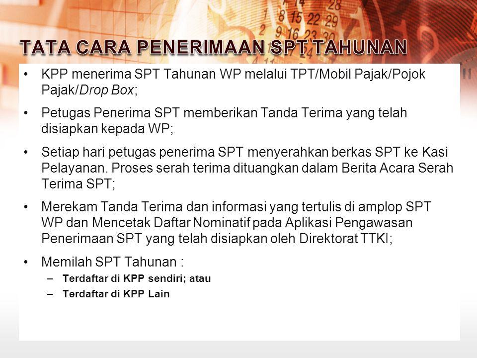 KPP menerima SPT Tahunan WP melalui TPT/Mobil Pajak/Pojok Pajak/Drop Box; Petugas Penerima SPT memberikan Tanda Terima yang telah disiapkan kepada WP;