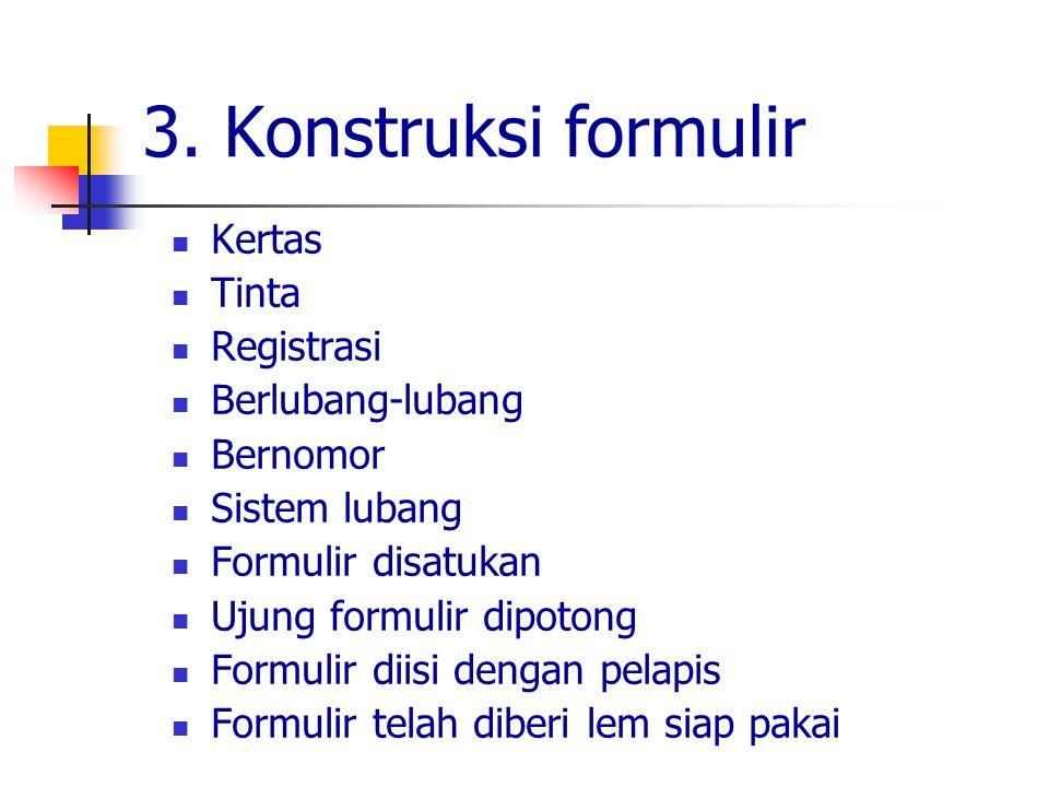 3. Konstruksi formulir Kertas Tinta Registrasi Berlubang-lubang Bernomor Sistem lubang Formulir disatukan Ujung formulir dipotong Formulir diisi denga