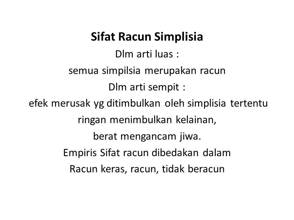Sifat Racun Simplisia Dlm arti luas : semua simpilsia merupakan racun Dlm arti sempit : efek merusak yg ditimbulkan oleh simplisia tertentu ringan men