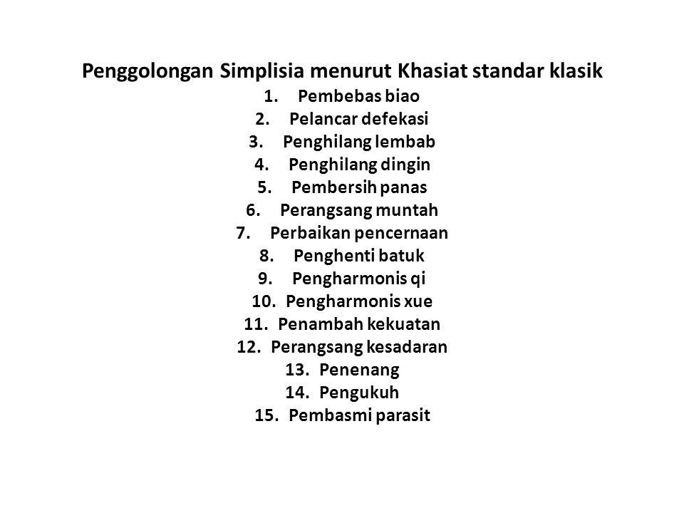 Penggolongan Simplisia menurut Khasiat standar klasik 1.Pembebas biao 2.Pelancar defekasi 3.Penghilang lembab 4.Penghilang dingin 5.Pembersih panas 6.