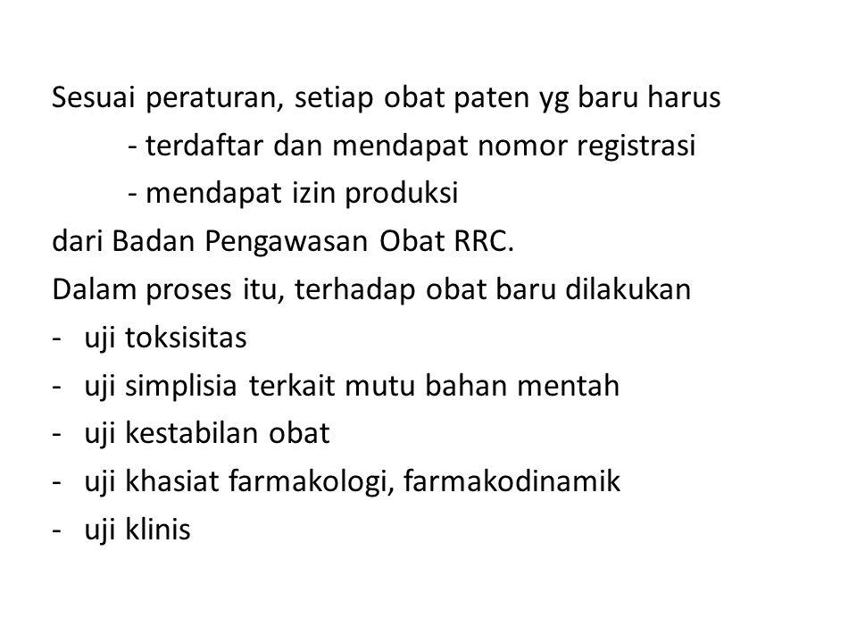 Sesuai peraturan, setiap obat paten yg baru harus - terdaftar dan mendapat nomor registrasi - mendapat izin produksi dari Badan Pengawasan Obat RRC. D