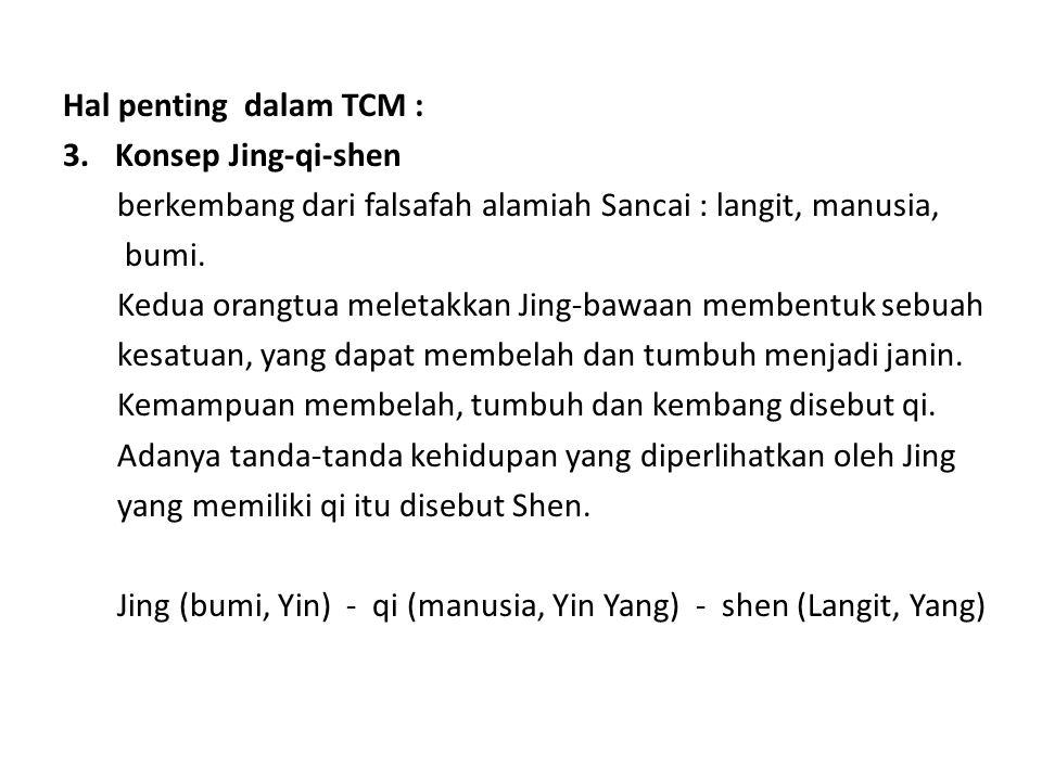 Hal penting dalam TCM : 3.Konsep Jing-qi-shen berkembang dari falsafah alamiah Sancai : langit, manusia, bumi. Kedua orangtua meletakkan Jing-bawaan m