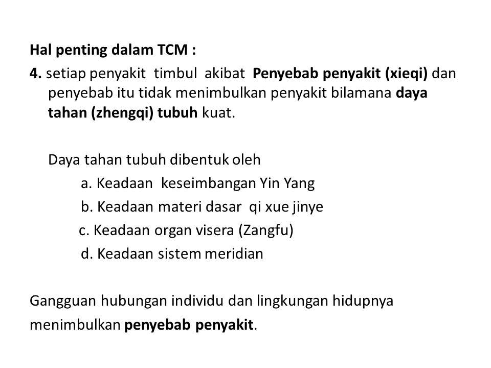 Hal penting dalam TCM : 4. setiap penyakit timbul akibat Penyebab penyakit (xieqi) dan penyebab itu tidak menimbulkan penyakit bilamana daya tahan (zh