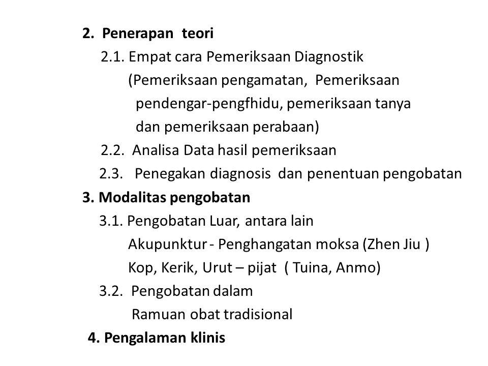 2. Penerapan teori 2.1. Empat cara Pemeriksaan Diagnostik (Pemeriksaan pengamatan, Pemeriksaan pendengar-pengfhidu, pemeriksaan tanya dan pemeriksaan