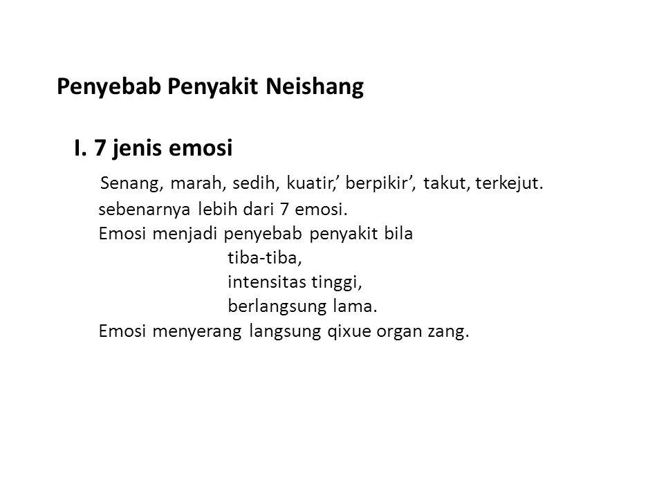 Penyebab Penyakit Neishang I. 7 jenis emosi Senang, marah, sedih, kuatir,' berpikir', takut, terkejut. sebenarnya lebih dari 7 emosi. Emosi menjadi pe