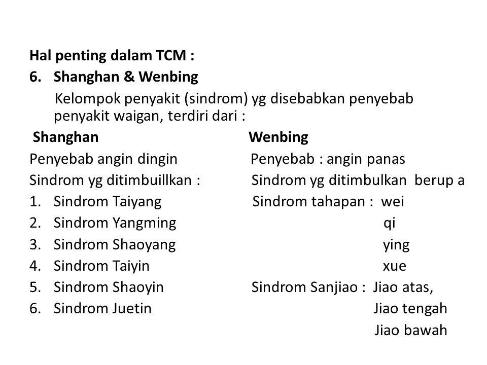 Hal penting dalam TCM : 6.Shanghan & Wenbing Kelompok penyakit (sindrom) yg disebabkan penyebab penyakit waigan, terdiri dari : Shanghan Wenbing Penye