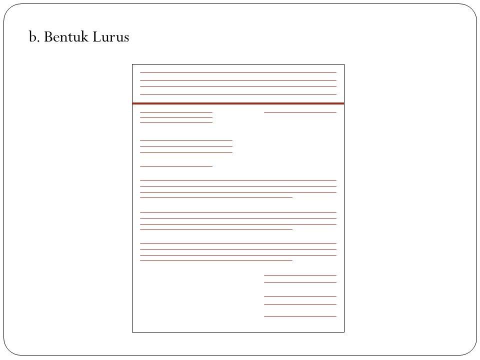 Bentuk bentuk Surat Dinas a. Bentuk Lurus Penuh