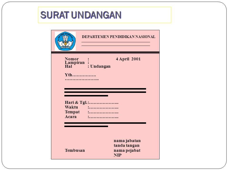 Nomor : 4 April 2001 Lampiran: Hal: Yth……………. ………………….. nama jabatan tanda tangan Tembusan nama pejabat NIP DEPARTEMEN PENDIDIKAN NASIONAL SURAT DINAS