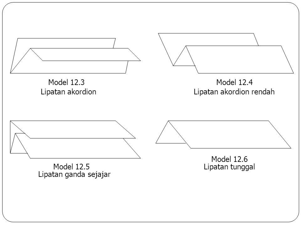 E. Penyuntingan Surat F. Melipat dan Menyampul Surat 1) melipat surat Model 12.1 Lipatan baku Model 12.2 Model baku rendah