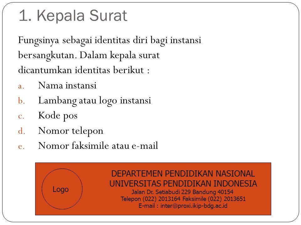1.Kepala Surat Fungsinya sebagai identitas diri bagi instansi bersangkutan.