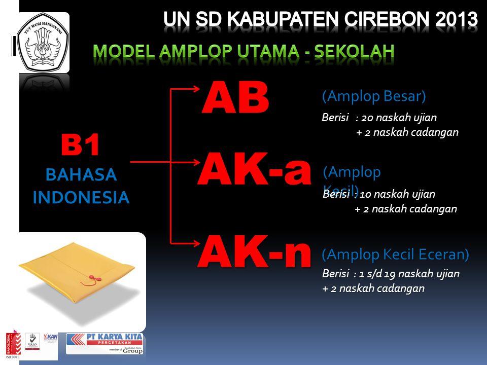 B1BAHASAINDONESIA (Amplop Besar) AB Berisi : 20 naskah ujian + 2 naskah cadangan + 2 naskah cadangan AK-a (Amplop Kecil) Berisi : 10 naskah ujian + 2