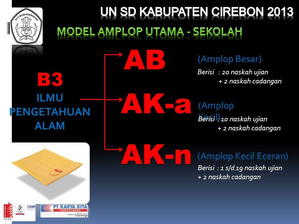 B3 ILMU PENGETAHUAN ALAM (Amplop Besar) AB Berisi : 20 naskah ujian + 2 naskah cadangan + 2 naskah cadangan AK-a (Amplop Kecil) Berisi : 10 naskah uji