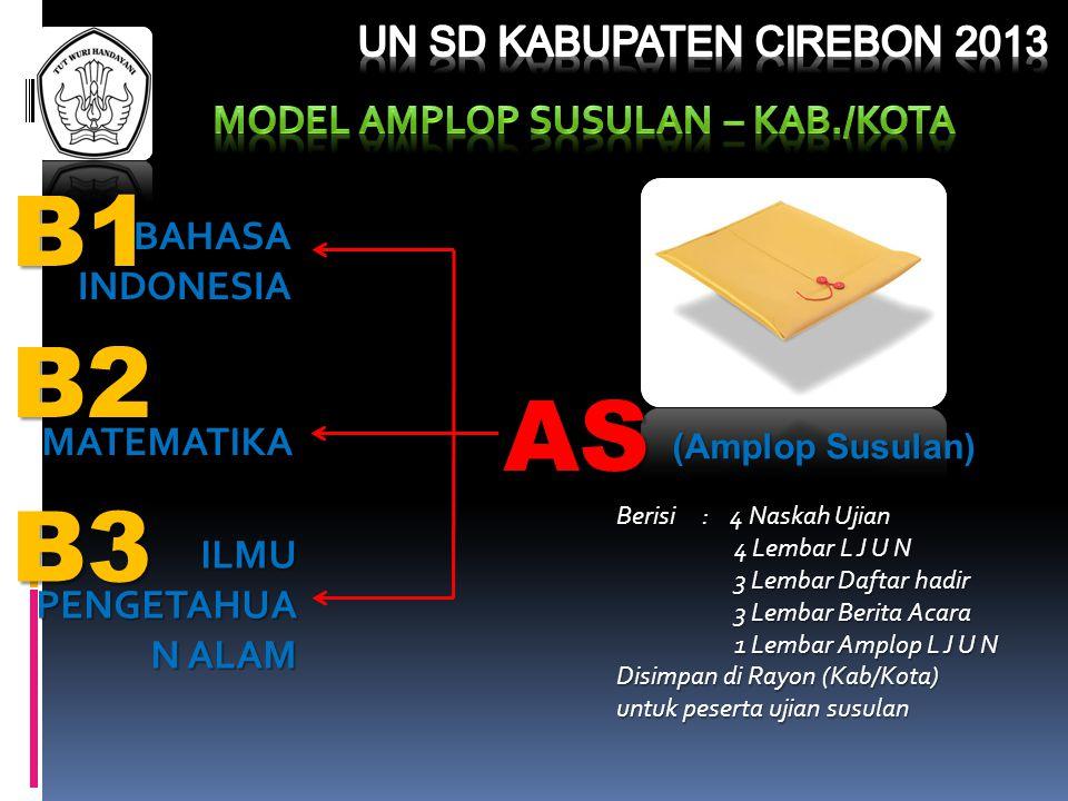 B2 B3 B1 BAHASAINDONESIA AS (Amplop Susulan) Berisi : 4 Naskah Ujian 4 Lembar L J U N 4 Lembar L J U N 3 Lembar Daftar hadir 3 Lembar Daftar hadir 3 L