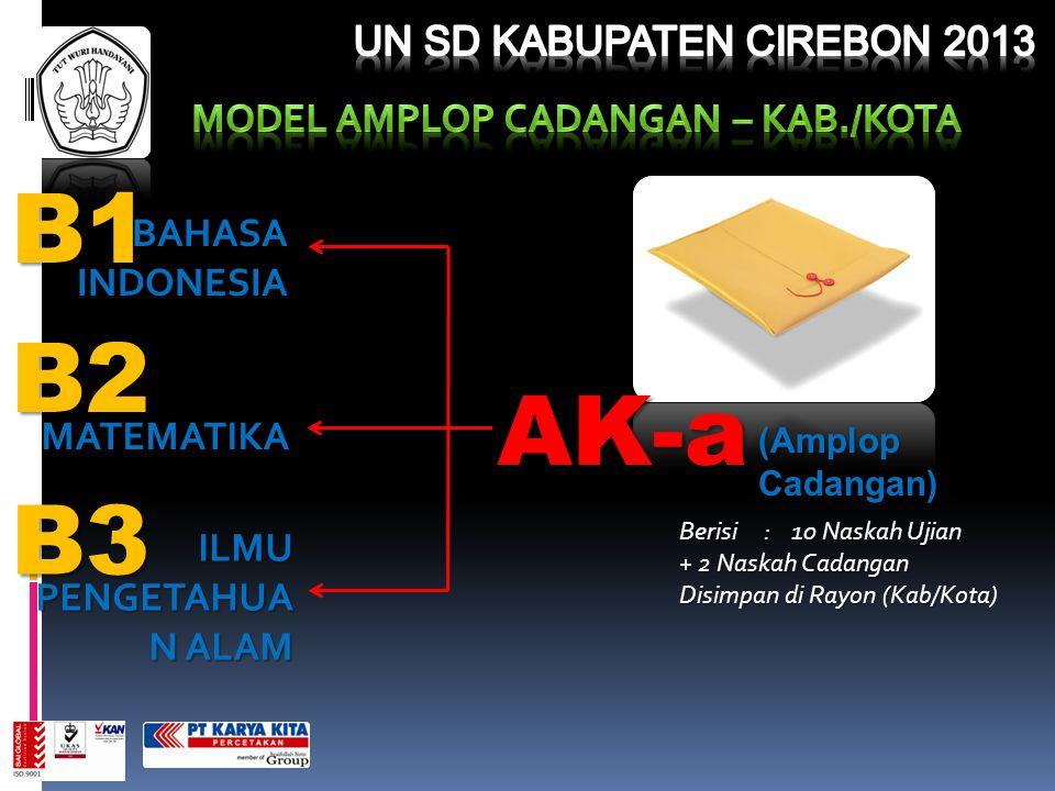B2 B3 B1 BAHASAINDONESIA AK-a (Amplop Cadangan) Berisi : 10 Naskah Ujian + 2 Naskah Cadangan Disimpan di Rayon (Kab/Kota) ILMU PENGETAHUA N ALAM MATEM