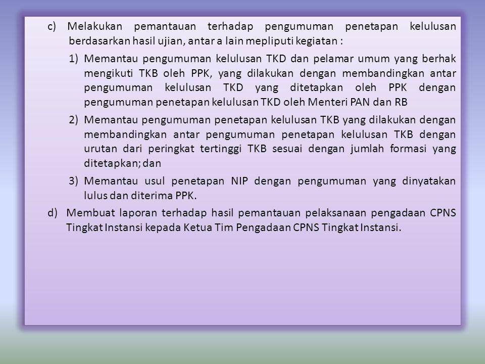 c) Melakukan pemantauan terhadap pengumuman penetapan kelulusan berdasarkan hasil ujian, antar a lain mepliputi kegiatan : 1)Memantau pengumuman kelul