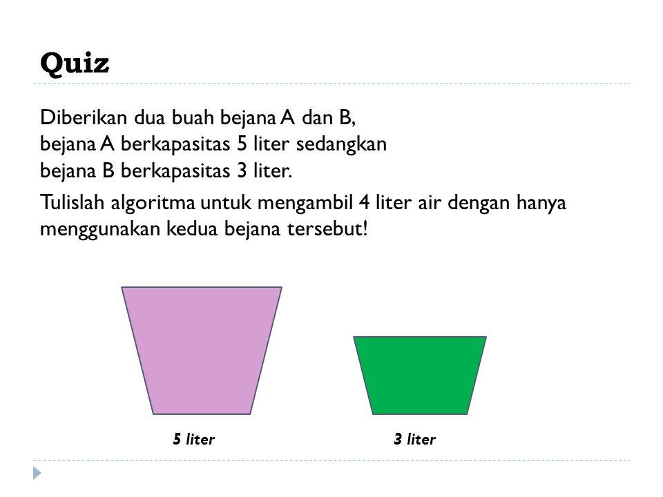 Quiz Diberikan dua buah bejana A dan B, bejana A berkapasitas 5 liter sedangkan bejana B berkapasitas 3 liter.
