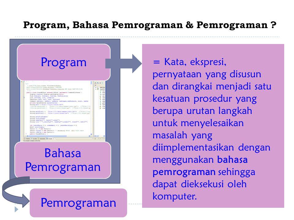 Program, Bahasa Pemrograman & Pemrograman .