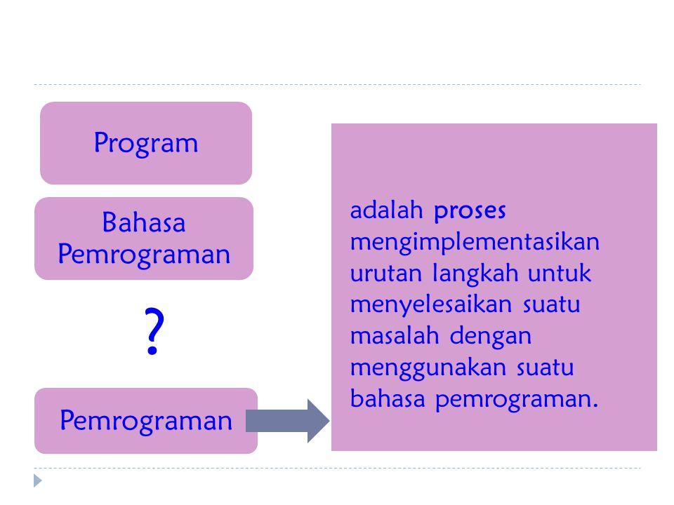 Program Bahasa Pemrograman Pemrograman adalah proses mengimplementasikan urutan langkah untuk menyelesaikan suatu masalah dengan menggunakan suatu bahasa pemrograman.