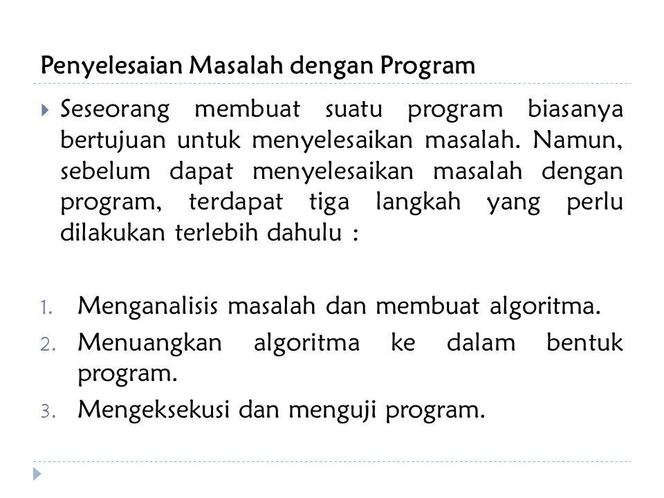Penyelesaian Masalah dengan Program  Seseorang membuat suatu program biasanya bertujuan untuk menyelesaikan masalah.