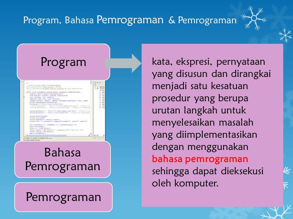 Program, Bahasa Pemrograman & Pemrograman Program Bahasa Pemrograman Pemrograman kata, ekspresi, pernyataan yang disusun dan dirangkai menjadi satu ke
