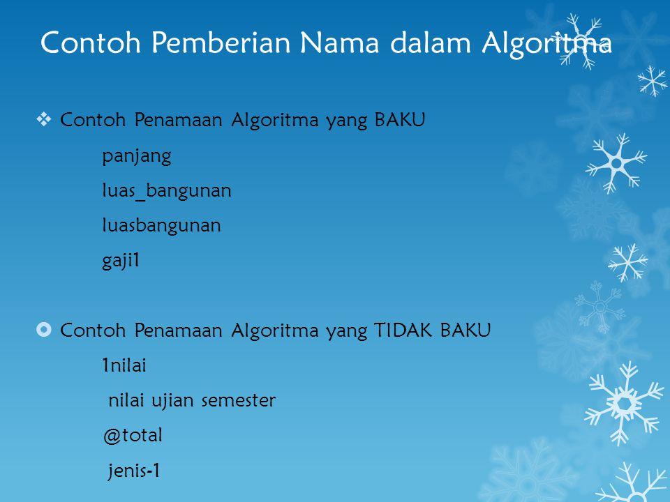 Contoh Pemberian Nama dalam Algoritma  Contoh Penamaan Algoritma yang BAKU panjang luas_bangunan luasbangunan gaji1  Contoh Penamaan Algoritma yang