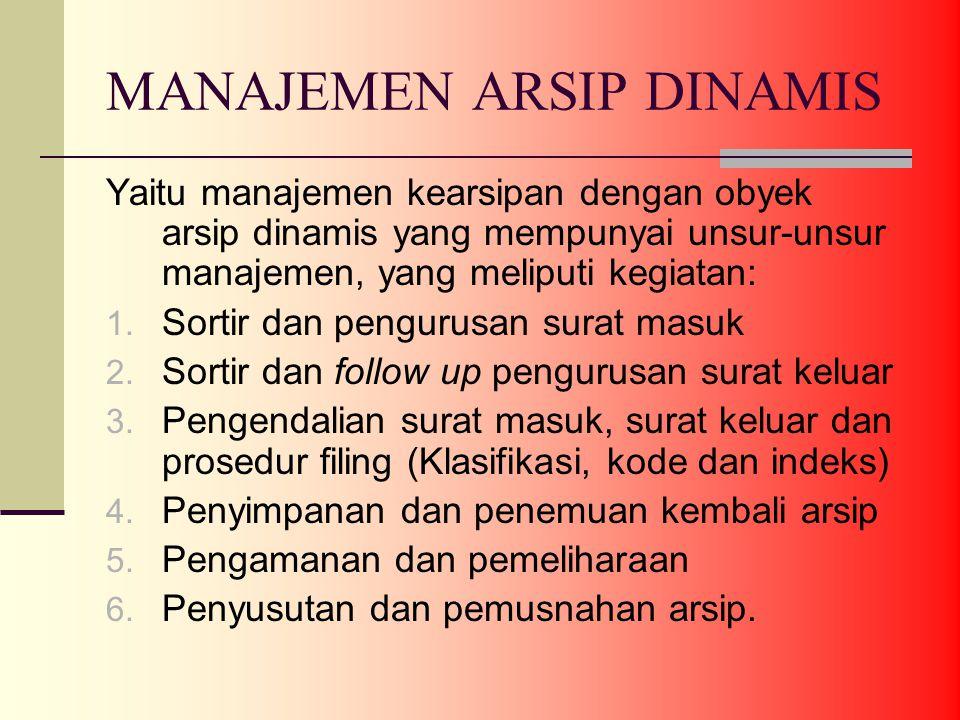 MANAJEMEN ARSIP DINAMIS Yaitu manajemen kearsipan dengan obyek arsip dinamis yang mempunyai unsur-unsur manajemen, yang meliputi kegiatan: 1.