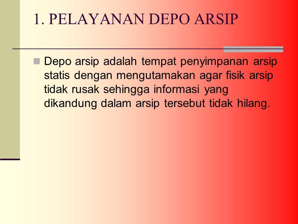1. PELAYANAN DEPO ARSIP Depo arsip adalah tempat penyimpanan arsip statis dengan mengutamakan agar fisik arsip tidak rusak sehingga informasi yang dik