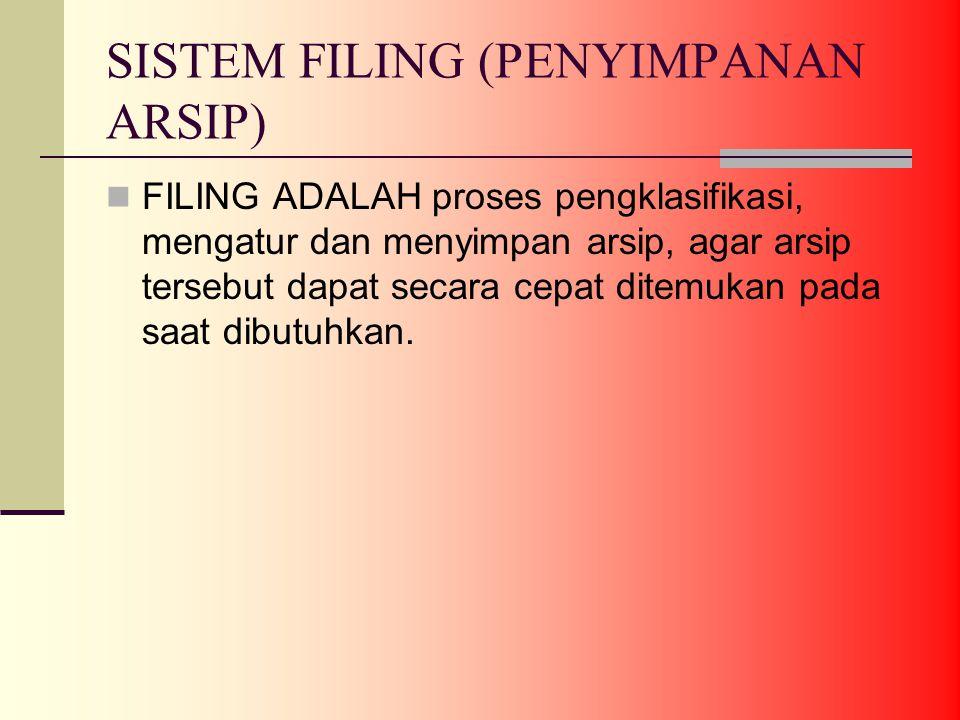 SISTEM FILING (PENYIMPANAN ARSIP) FILING ADALAH proses pengklasifikasi, mengatur dan menyimpan arsip, agar arsip tersebut dapat secara cepat ditemukan pada saat dibutuhkan.