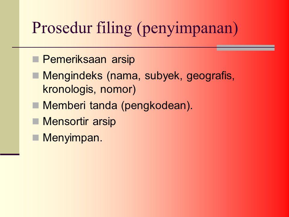Prosedur filing (penyimpanan) Pemeriksaan arsip Mengindeks (nama, subyek, geografis, kronologis, nomor) Memberi tanda (pengkodean).