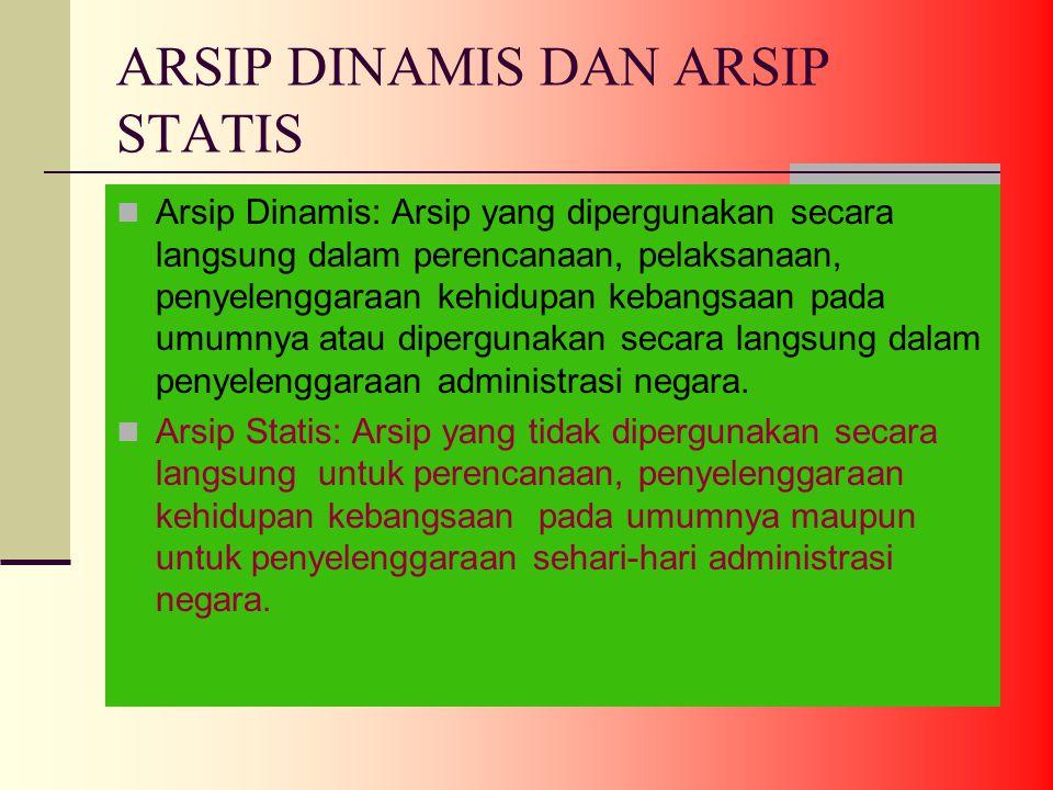 ARSIP DINAMIS DAN ARSIP STATIS Arsip Dinamis: Arsip yang dipergunakan secara langsung dalam perencanaan, pelaksanaan, penyelenggaraan kehidupan kebangsaan pada umumnya atau dipergunakan secara langsung dalam penyelenggaraan administrasi negara.
