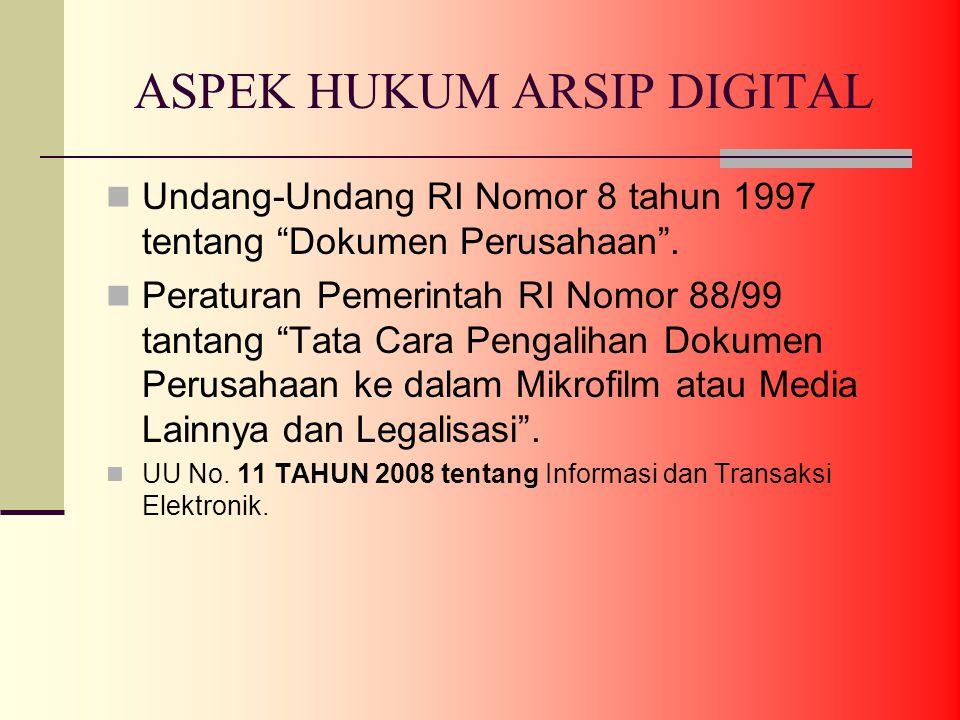 ASPEK HUKUM ARSIP DIGITAL Undang-Undang RI Nomor 8 tahun 1997 tentang Dokumen Perusahaan .