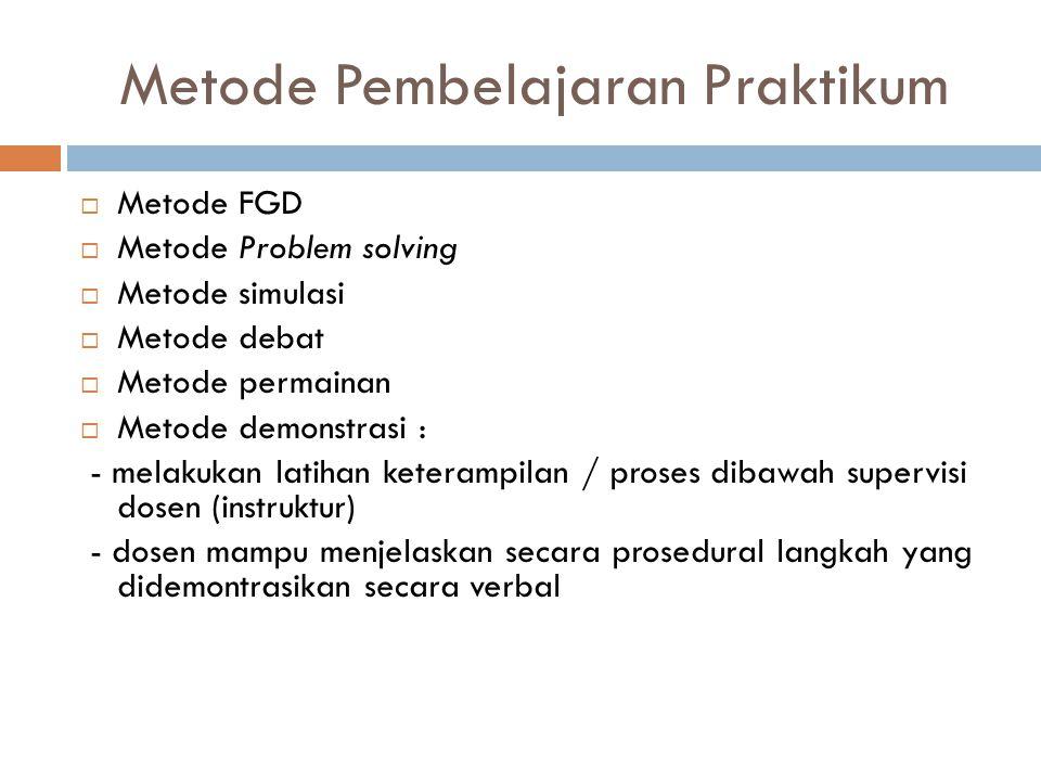 Metode Pembelajaran Praktikum  Metode FGD  Metode Problem solving  Metode simulasi  Metode debat  Metode permainan  Metode demonstrasi : - melak