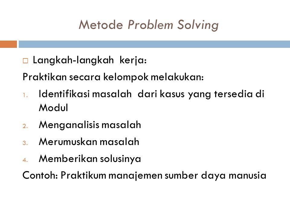 Metode Problem Solving  Langkah-langkah kerja: Praktikan secara kelompok melakukan: 1. Identifikasi masalah dari kasus yang tersedia di Modul 2. Meng
