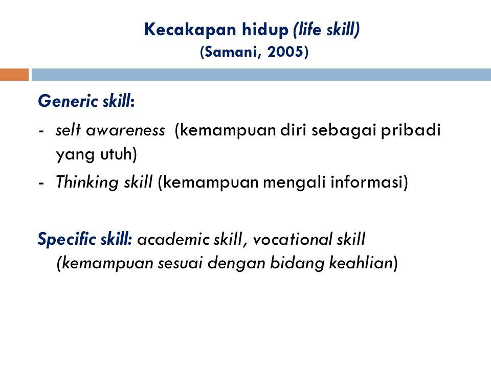 Kecakapan hidup (life skill) (Samani, 2005) Generic skill: - selt awareness (kemampuan diri sebagai pribadi yang utuh) - Thinking skill (kemampuan men