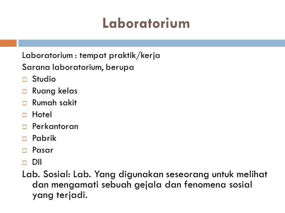 Laboratorium Laboratorium : tempat praktik/kerja Sarana laboratorium, berupa  Studio  Ruang kelas  Rumah sakit  Hotel  Perkantoran  Pabrik  Pas