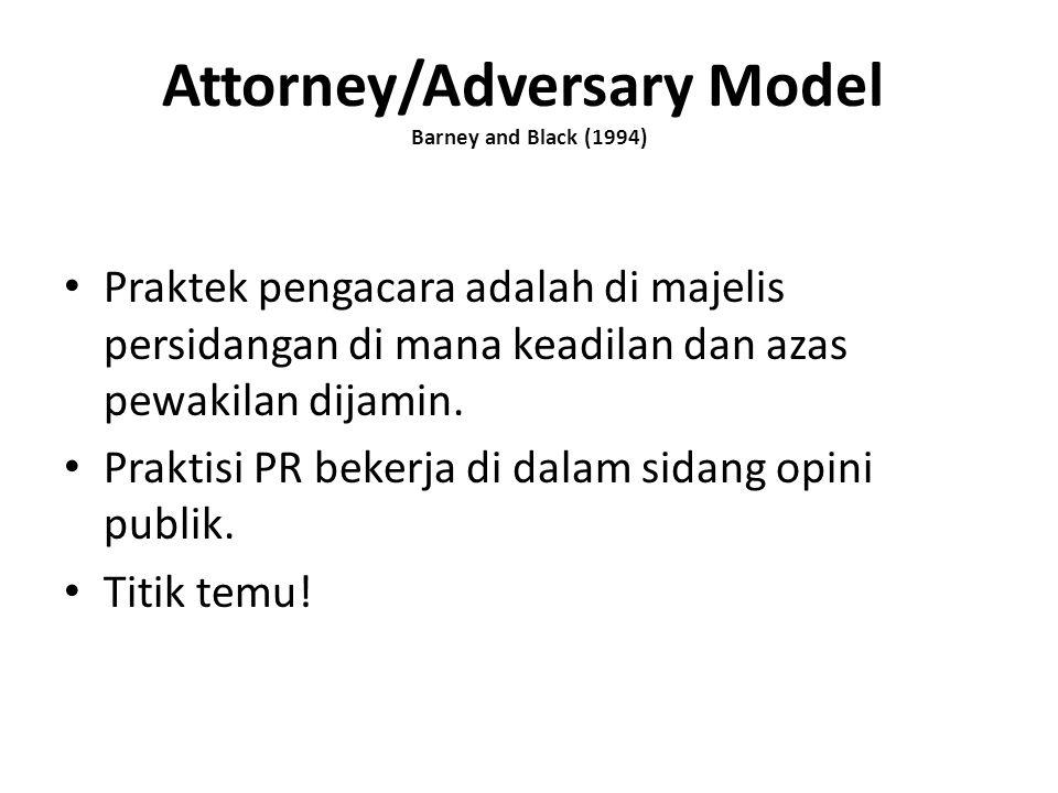 Attorney/Adversary Model Barney and Black (1994) Praktek pengacara adalah di majelis persidangan di mana keadilan dan azas pewakilan dijamin. Praktisi