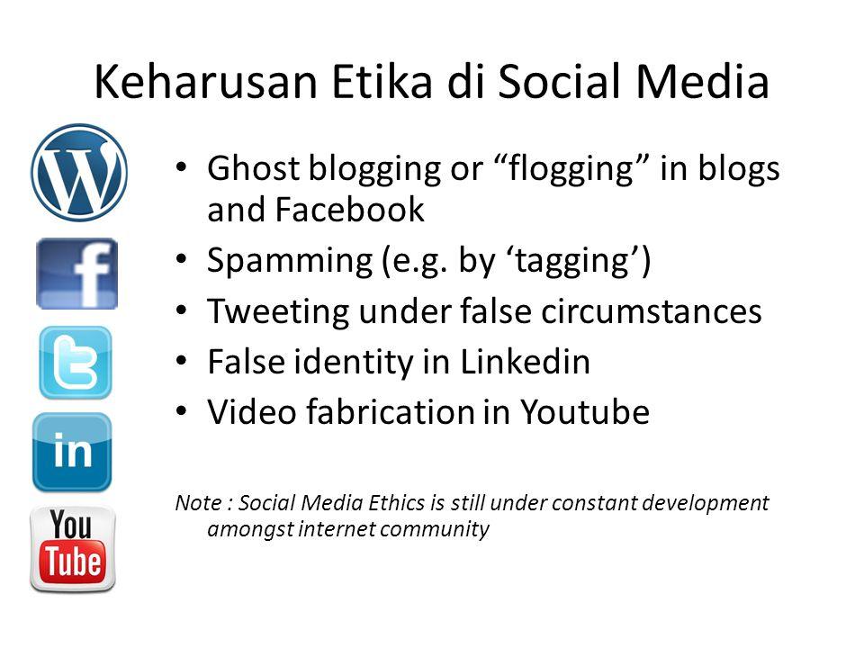 "Keharusan Etika di Social Media Ghost blogging or ""flogging"" in blogs and Facebook Spamming (e.g. by 'tagging') Tweeting under false circumstances Fal"