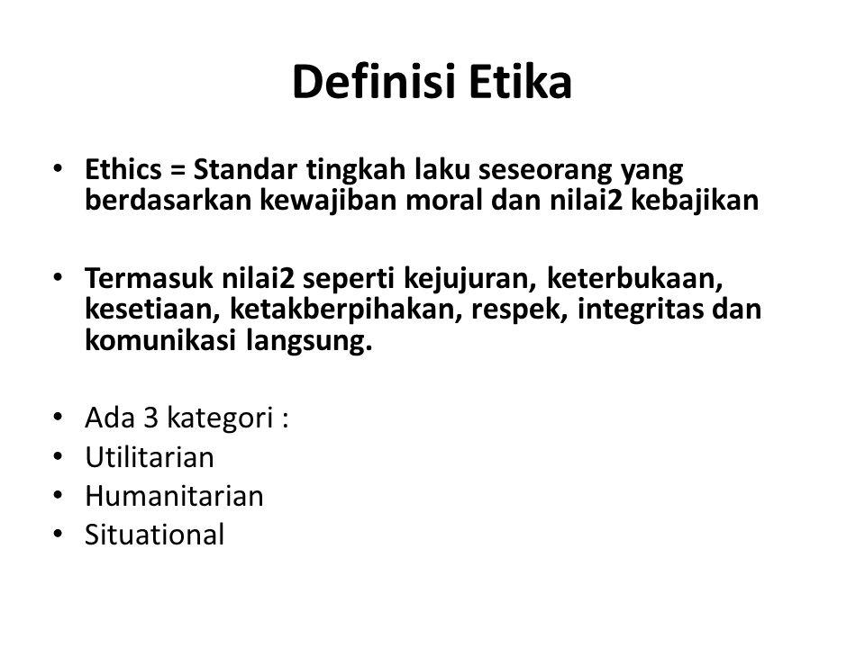 Definisi Etika Ethics = Standar tingkah laku seseorang yang berdasarkan kewajiban moral dan nilai2 kebajikan Termasuk nilai2 seperti kejujuran, keterb