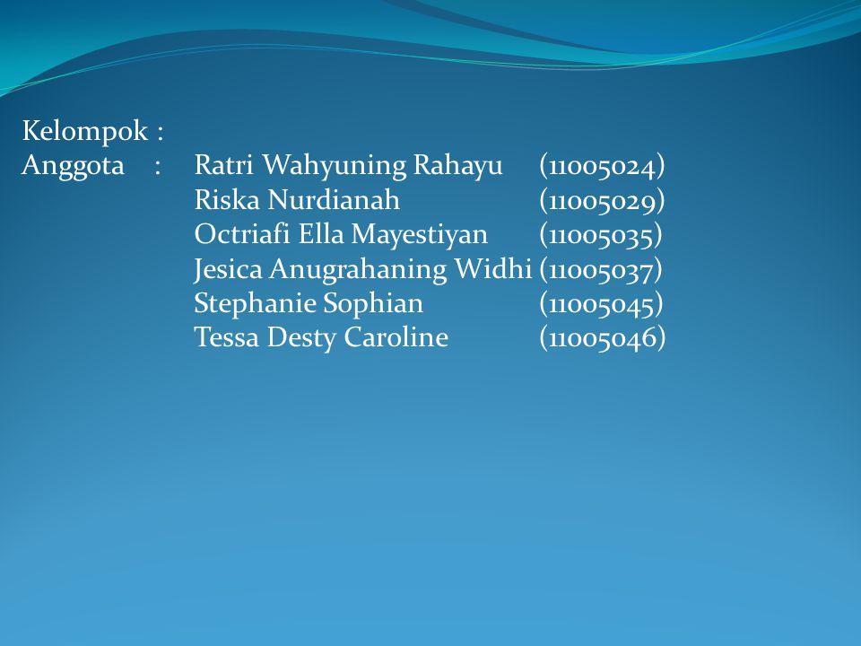 Kelompok : Anggota :Ratri Wahyuning Rahayu(11005024) Riska Nurdianah(11005029) Octriafi Ella Mayestiyan(11005035) Jesica Anugrahaning Widhi(11005037)