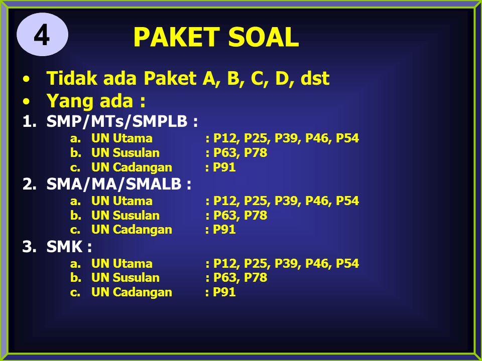 PAKET SOAL Tidak ada Paket A, B, C, D, dst Yang ada : 1.SMP/MTs/SMPLB : a.UN Utama : P12, P25, P39, P46, P54 b.UN Susulan : P63, P78 c.UN Cadangan : P