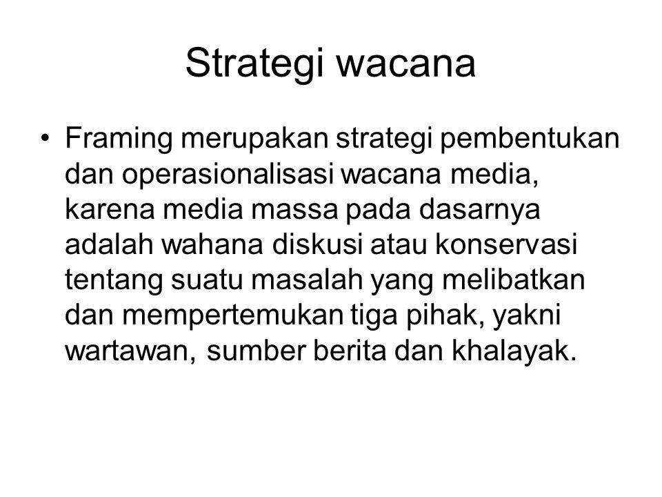 Strategi wacana Framing merupakan strategi pembentukan dan operasionalisasi wacana media, karena media massa pada dasarnya adalah wahana diskusi atau